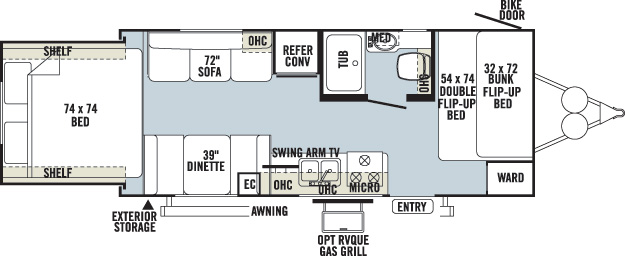 Floorplan of the Keystone Outback 210RS