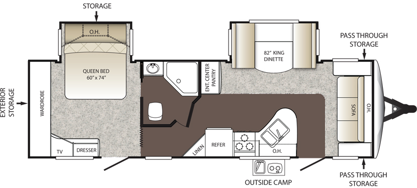 Floorplan of the Keystone Outback 260FL