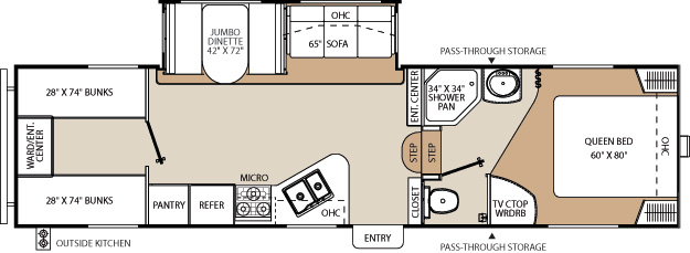 Floorplan of the Chaparral 269BHS