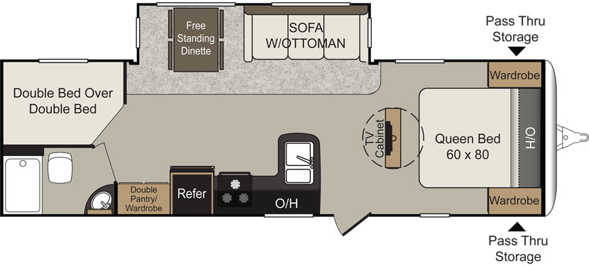 Floorplan of the Keystone Passport 28BH