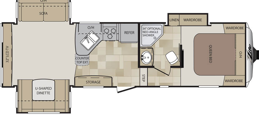 Floorplan of the Keystone Cougar XLite 29RES
