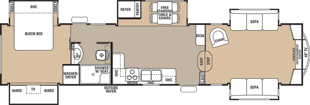 Floorplan of the Keystone Mountaineer 375FLF