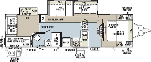 Floorplan of the KZ Spree 327BHS