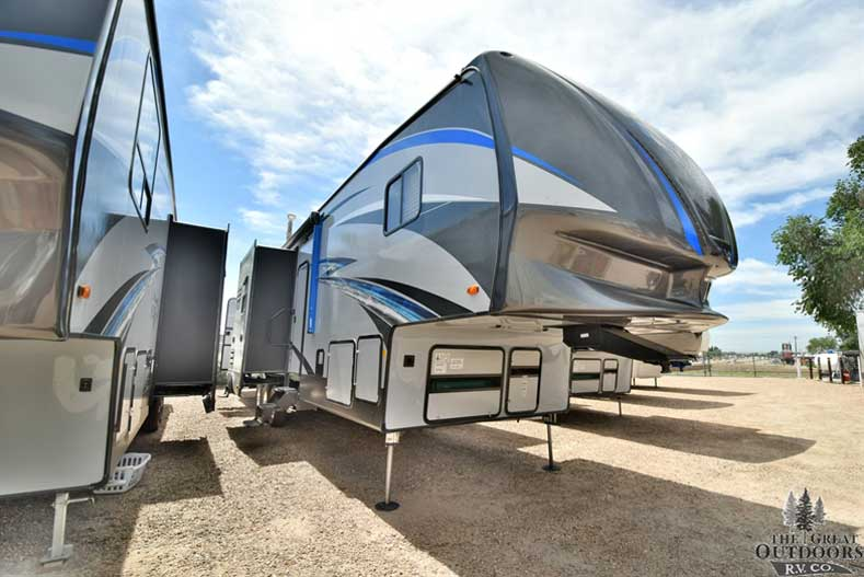 The Great Outdoors RV V138-2018-Forest-River-Vengeance-377V Front passengers side exterior w/slide out