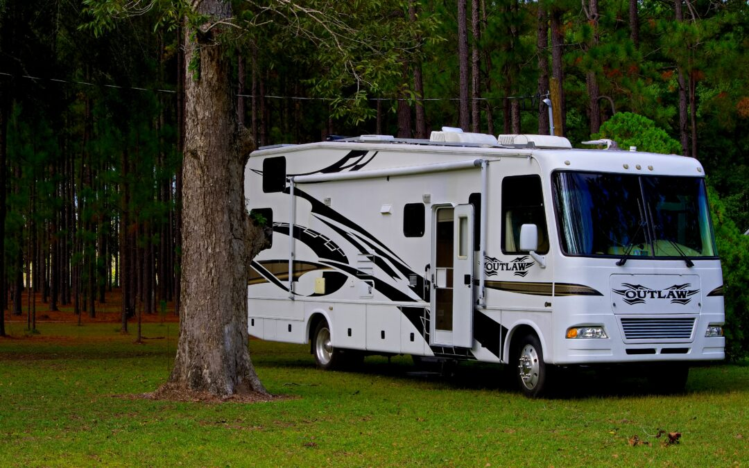 a class a motorhome parked in the grass near a tree